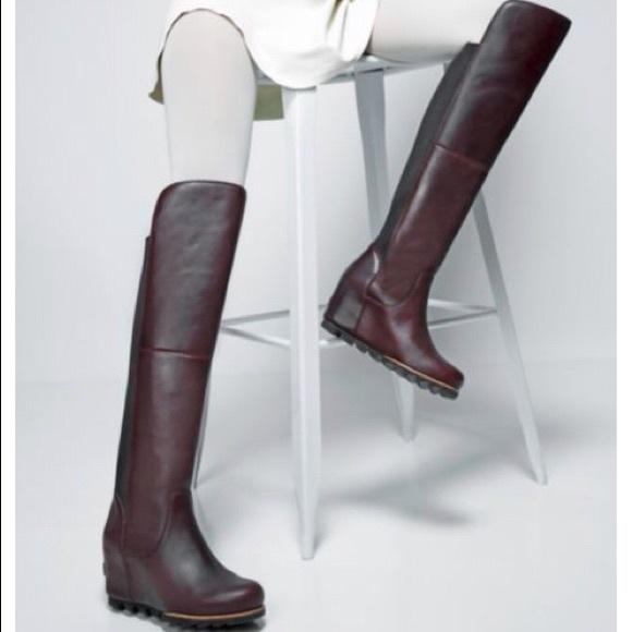 2f3a86c7d68 Sorel Fiona OTK Lux BLACK Wedge Boots. M 5a7e70f35512fdc1c559e7f5